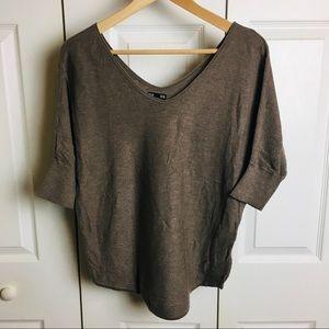 Express dolman double Vneck 5% cashmere sweater